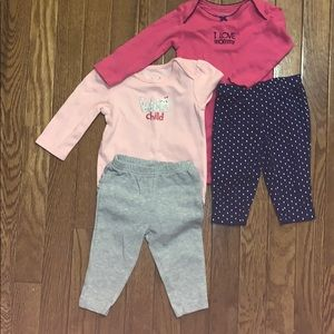 Girls 6 month Bundle of 4:  2 leggings 2 bodysuits